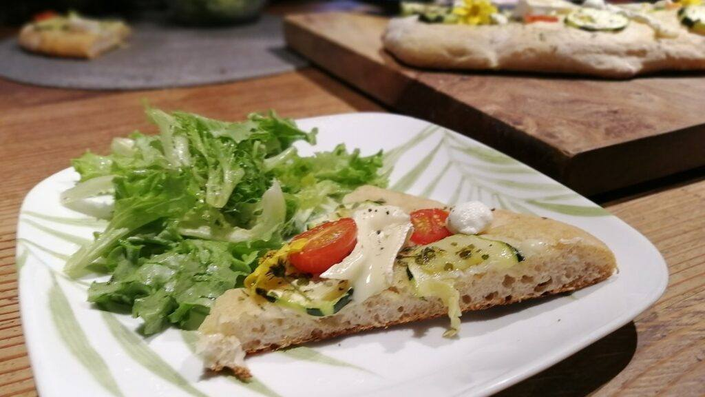Zucchini Focaccia with Brie and Chevre - The Cheese Shark