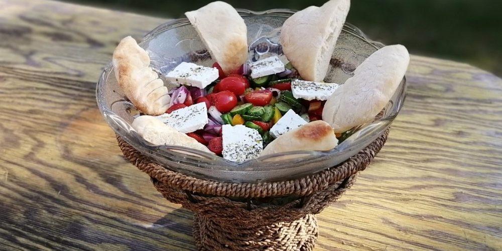 Greek Salad with Pita Bread - The Cheese Shark